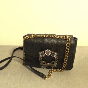 Aldo Black Metallic Faux Leather Crossbody bag